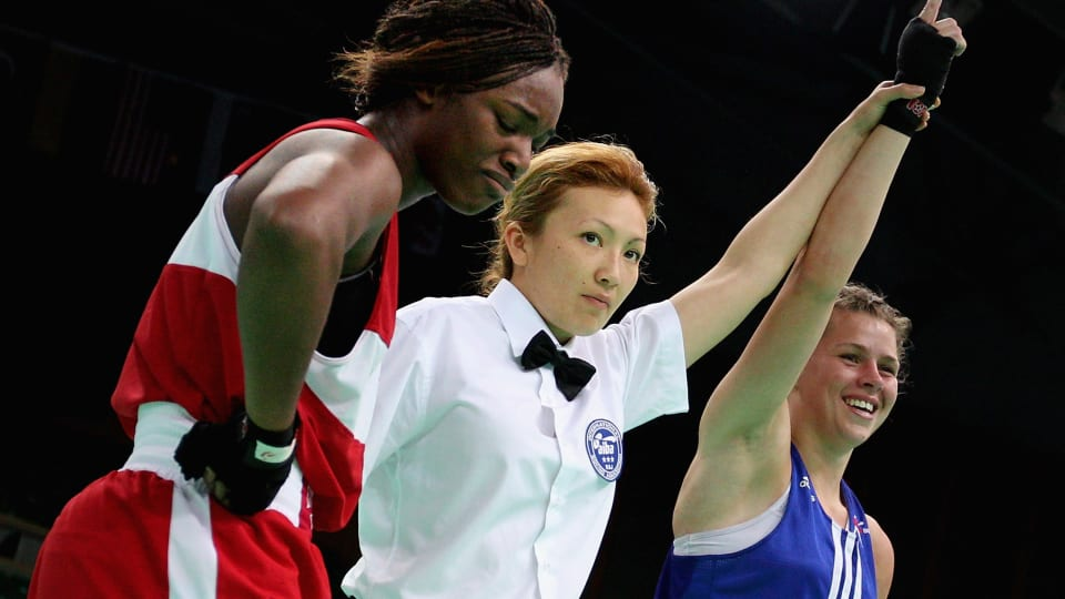 Claressa Shields disappointed after being defeated by Savannah Marshall during the 2012 AIBA Women's World Boxing Championships in Qinhuangdao, China.