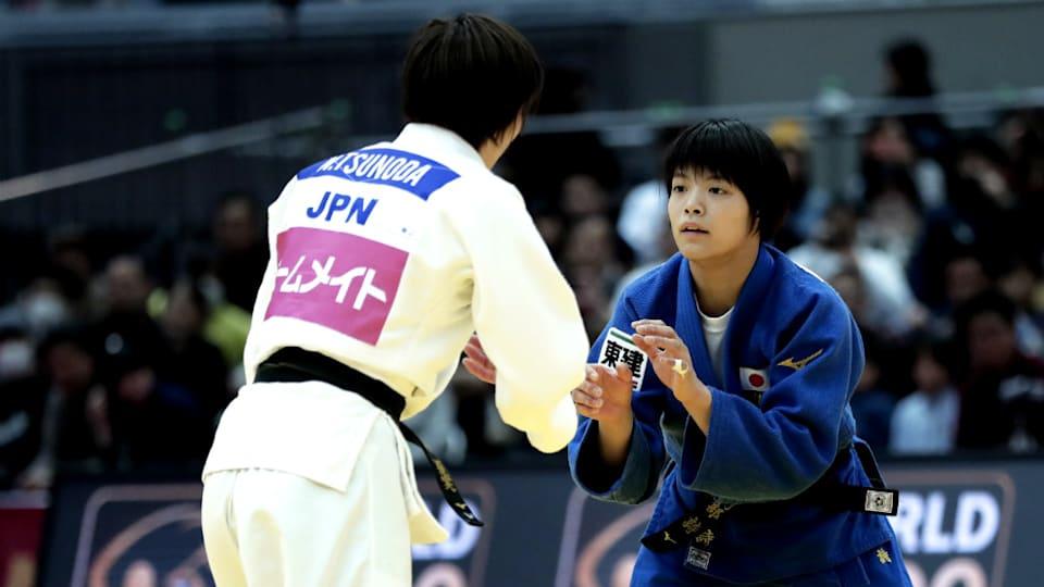 阿部詩(右)は2000年生まれの若手の星。2018年9月の世界柔道選手権大会では初出場初優勝を果たしてみせた