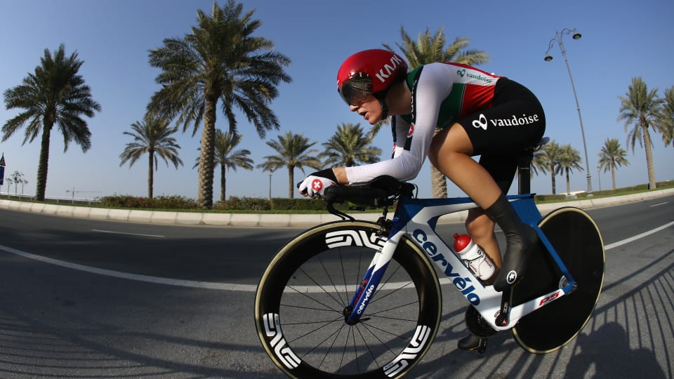 Nicole Hanselmann competing in the individual time trial at the 2016 World Road Race Championships in Doha