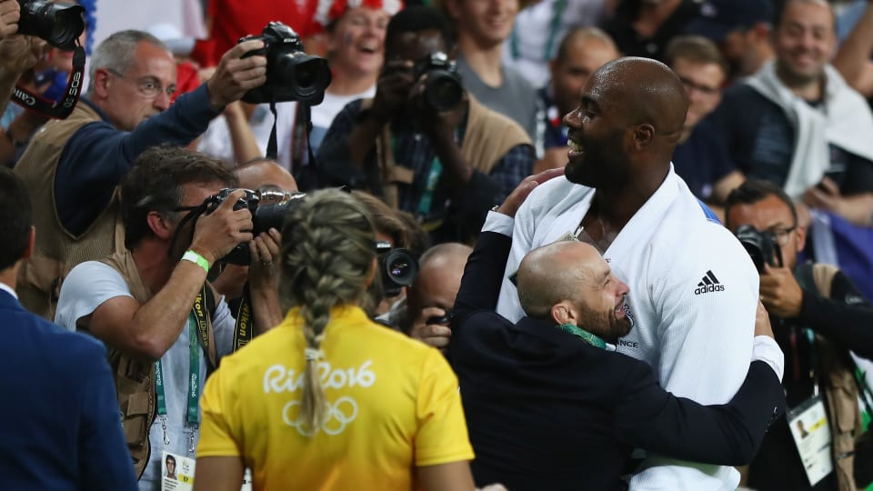 Franck Chambilly and Teddy Riner celebrate after +100kg gold at the Rio 2016 Olympic Games