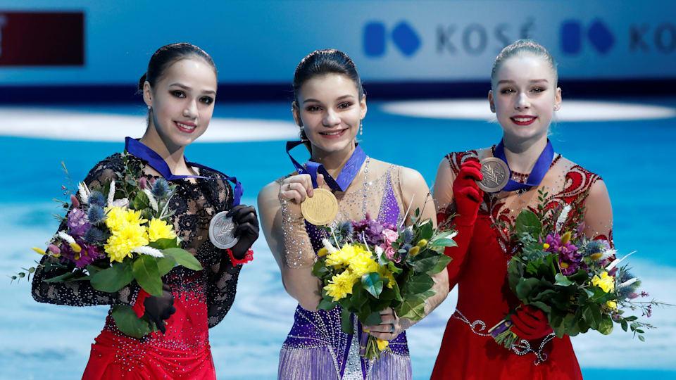 Russia's Sofia Samodurova (centre) celebrates 2019 European Figure Skating Championships gold with silver medallist Alina Zagitova and bronze medallist Viveca Lindfors (REUTERS/Vasily Fedosenko)