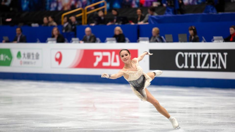 Alina Zagitova skates during her short program in Saitama