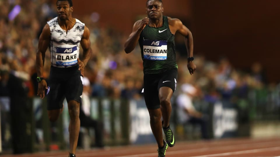 Christian Coleman glides to victory in the 2018 Diamond League Final 100m in Brussels ahead of Yohan Blake