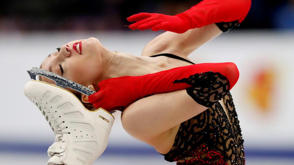 Switzerland's Alexia Paganini skates in the Ladies' Short Program at the 2019 ISU European Figure Skating Championships in Minsk. (REUTERS/Vasily Fedosenko)
