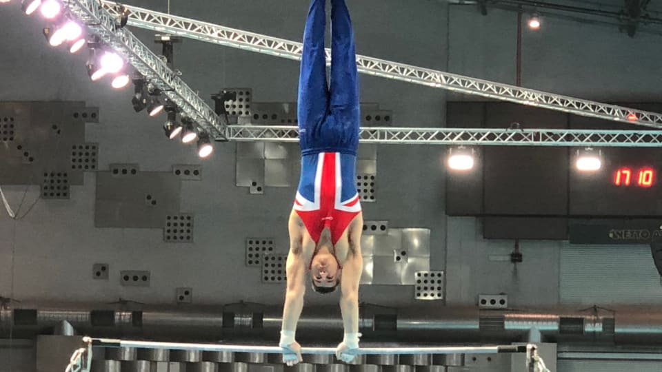 Max Whitlock from Great Britain competes in the qualifying event at the European Artistic Gymnastics Championship
