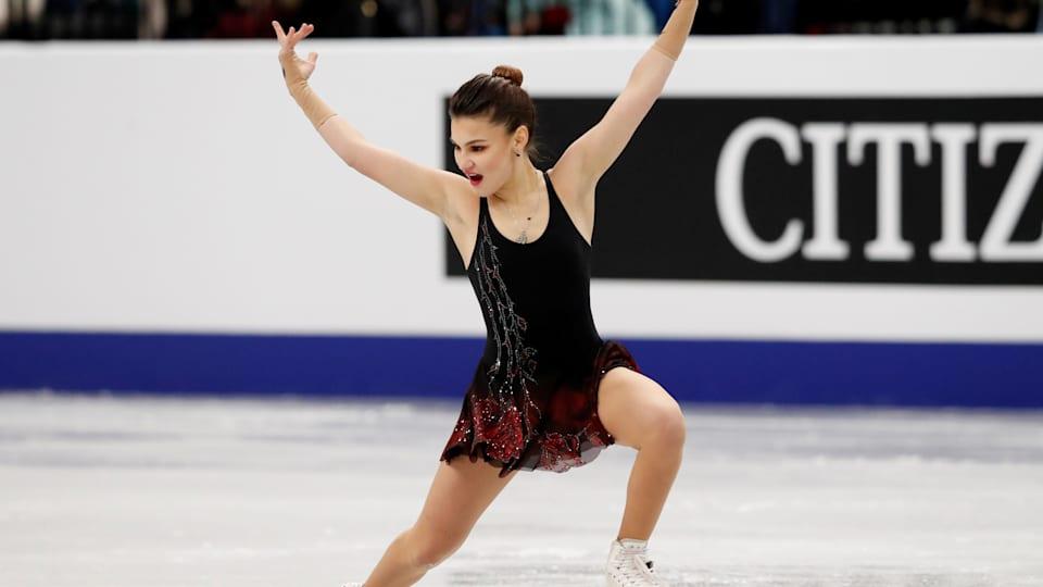 Russia's Sofia Samodurova skates in the Ladies' Short Program at the 2019 ISU European Figure Skating Championships in Minsk. (REUTERS/Vasily Fedosenko)