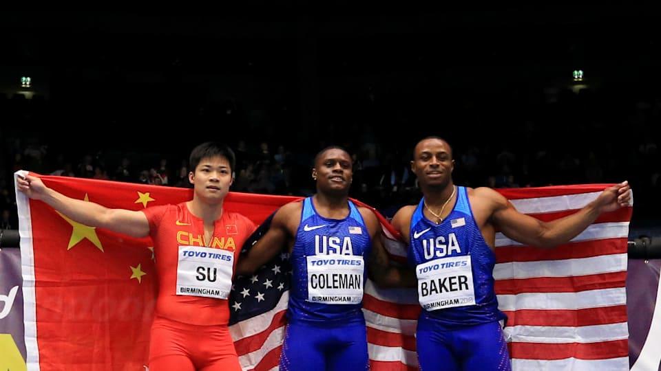 左から蘇炳添(スー・ビンティエン)、クリスチャン・コールマン、ロニー・ベイカー。東京五輪の男子100m走のメダリスト候補だ