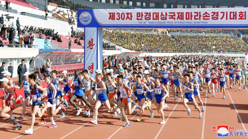 Participants compete in the 30th Mangyongdae Prize International Marathon in Pyongyang (Reuters)