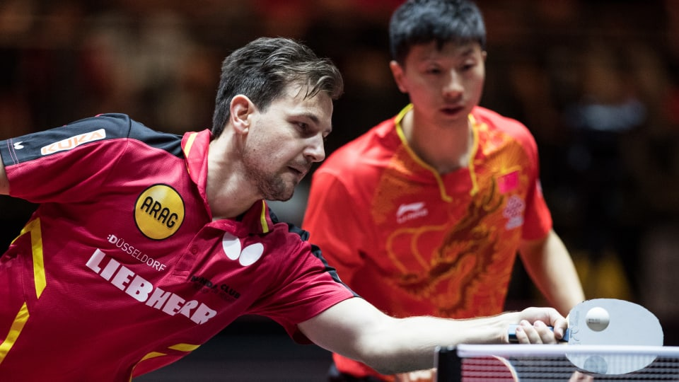 Timo Boll of Germany competes alongside Ma Long of China at the 2017 World Table Tennis Championships in Germany. (Photo by Maja Hitij/Bongarts/Getty Images)