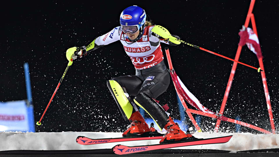 Mikaela Shiffrin in action during the city event in Stockholm
