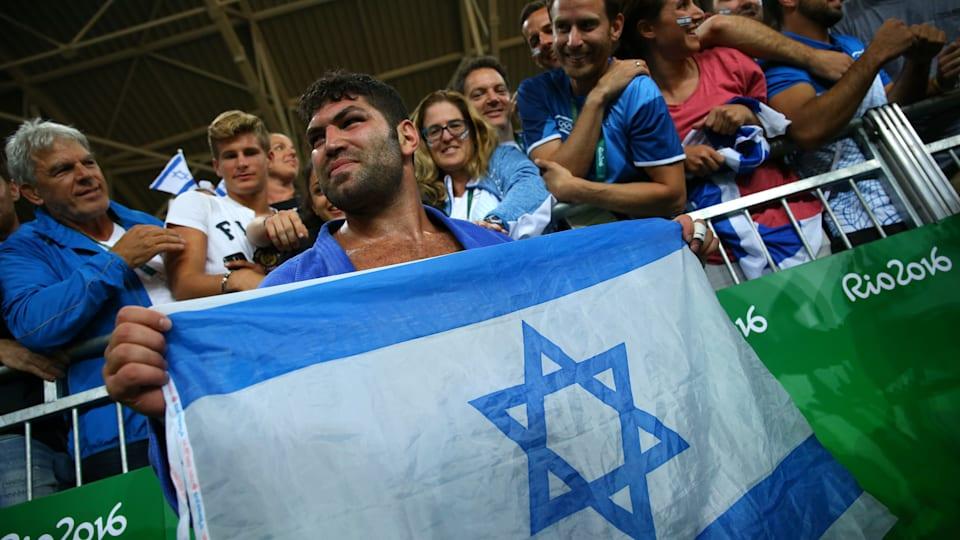 Israel's Or Sasson celebrates his bronze medal at Rio 2016