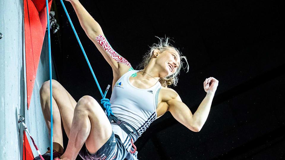 Janja Garnbret celebrates winning the 2018 combined world title in Innsbruck (courtesy of Johann Groder/EXPA Pictures)