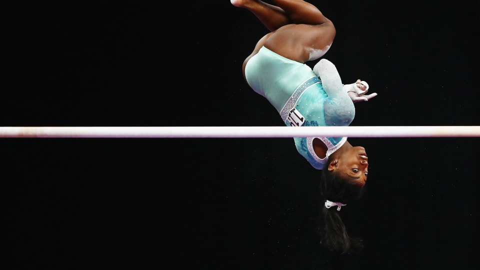 Simone Biles competing on the uneven bars during day four of the U.S. Gymnastics Championships 2018 at TD Garden on August 19, 2018 in Boston, Massachusetts. (Photo by Tim Bradbury/Getty Images)
