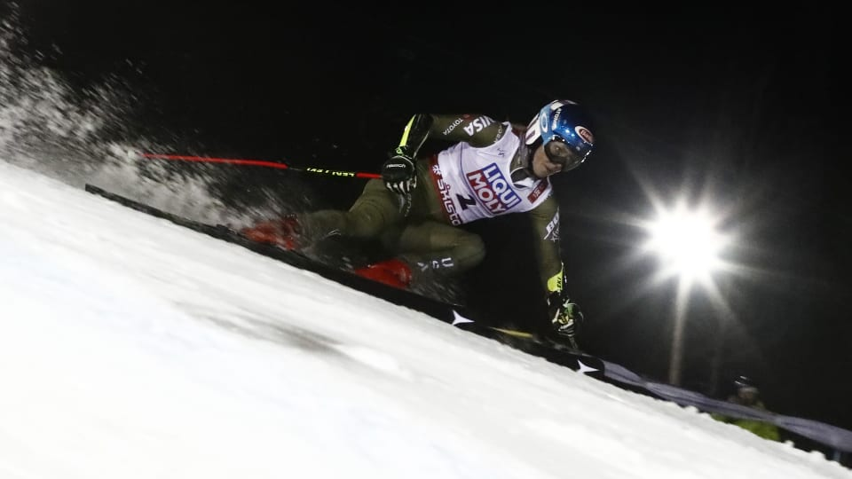Mikaela Shiffrin during her second run in the World Championship giant slalom