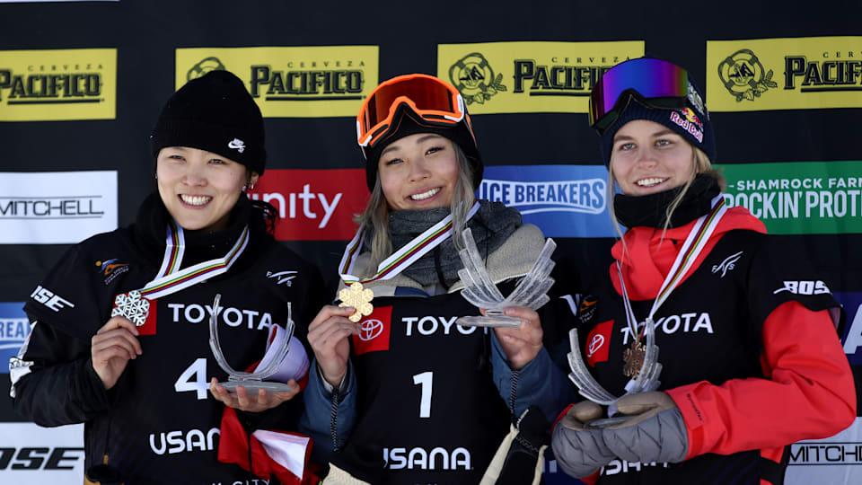 World Snowboard Halfpipe podium (L-R): runner-up Cai Xuetong, winner Chloe Kim, third-placed Maddie Mastro