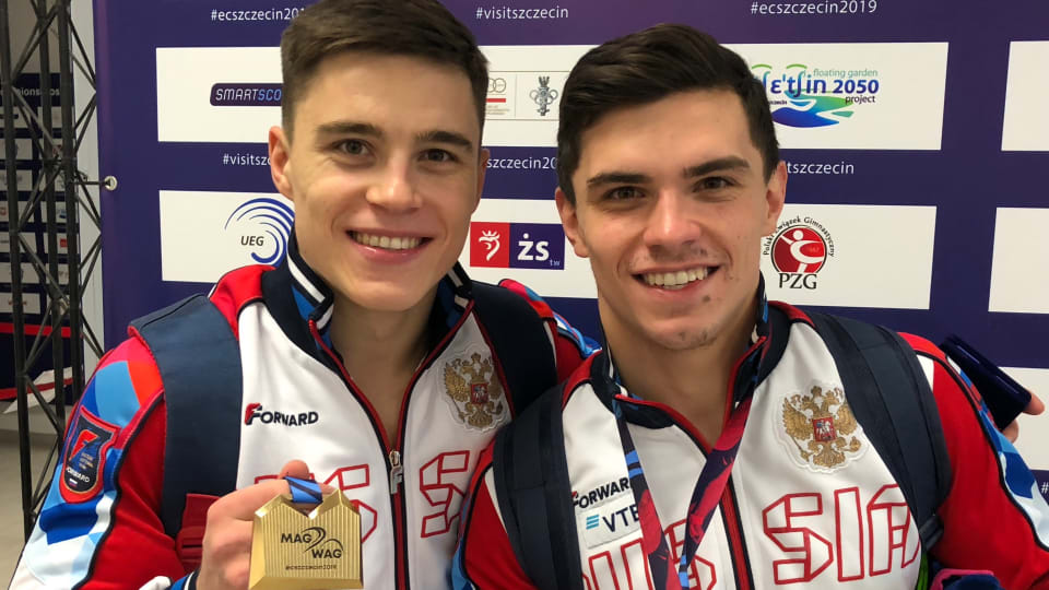 European Artistic Gymnastics All-Around champion Nikita Nagornyy (L) with runner-up Artur Dalaloyan