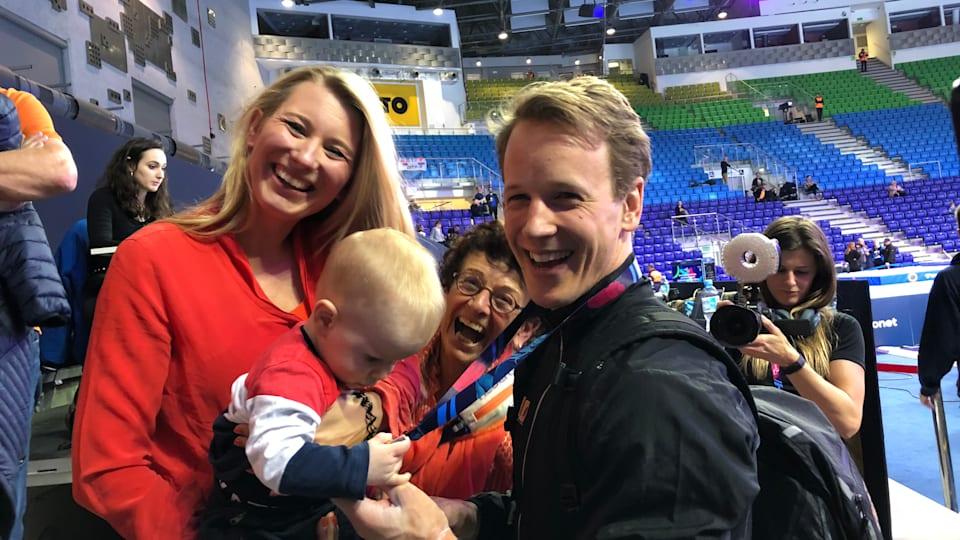 High bar winner Epke Zonderland celebrates with his family