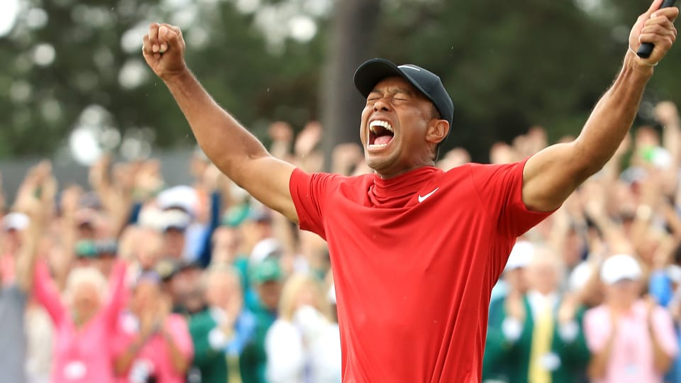 Tiger Woods celebrates winning the 2019 Masters at Augusta